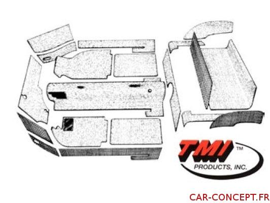 Kit moquette noire 20 pièces pour Karmann Ghia 69/74