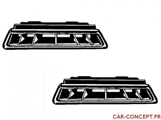 set de 2 grilles de ventilation de pare-brise 68/70 (pour véhicule avec tableau de bord en mousse)