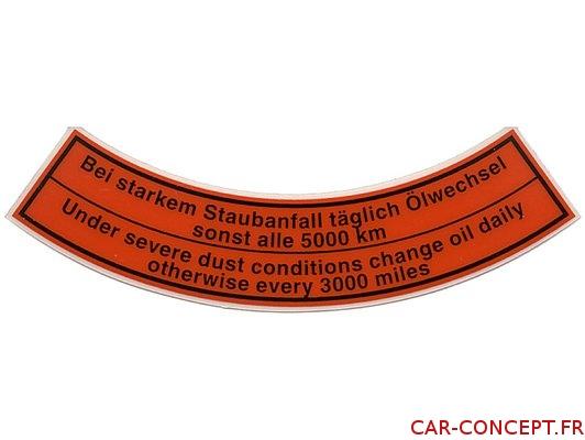 Étiquette autocollant de filtre à air arrondi