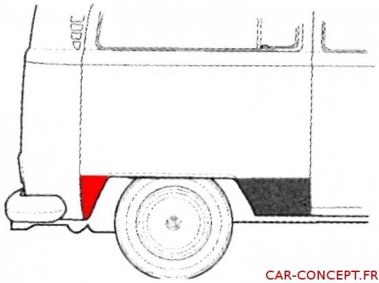 Bas d'aile arrière droit derrière la roue Combi 73-79