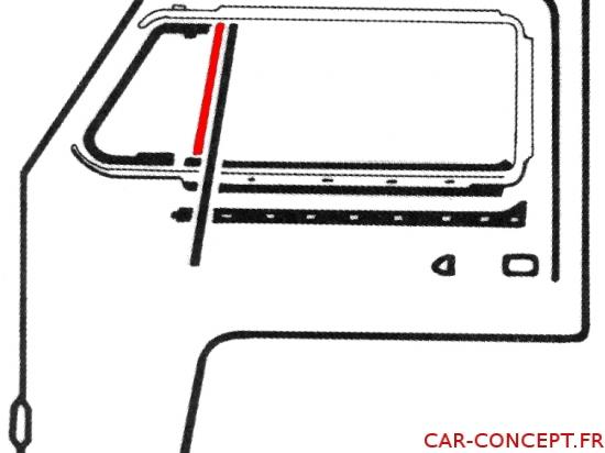 joint vertical de petite vitre fixe gauche ou droite 68->
