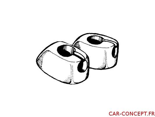 Clips de pare-soleil blanc pour cox 65/66 et combi (la paire)