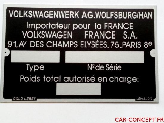 Plaque constructeur Volkswagen vierge