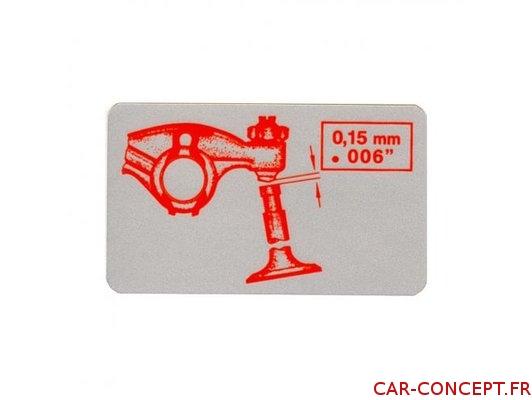 Étiquette autocollant de réglage des culbuteurs