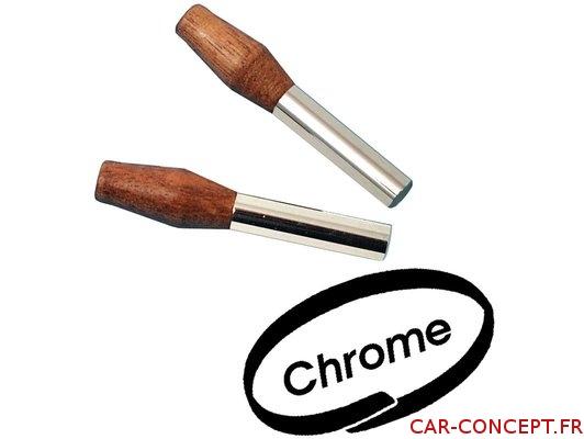 Loquet fermeture en bois et chrome (la paire)
