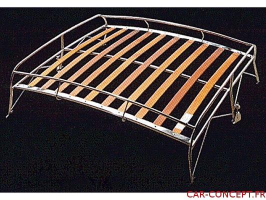 Galerie de toit style FLAT 4 inox et bois pour coccinelle