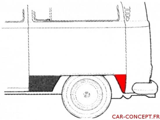 Bas d'aile arrière gauche derrière la roue Combi 73-79