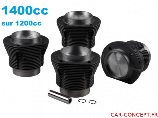 Kit chemises/pistons 1400cc (emboîtement 90mm) moteur 1200cc