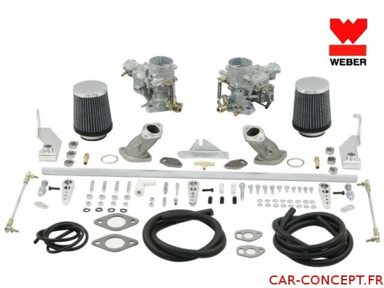 Kit 2 carburateurs WEBER 34 ICT 1300/1500/1600 simple admission