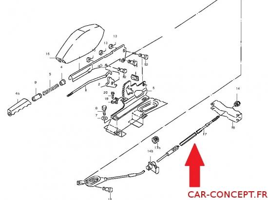 CABLE FREIN A MAIN (partie avant) transporter T3