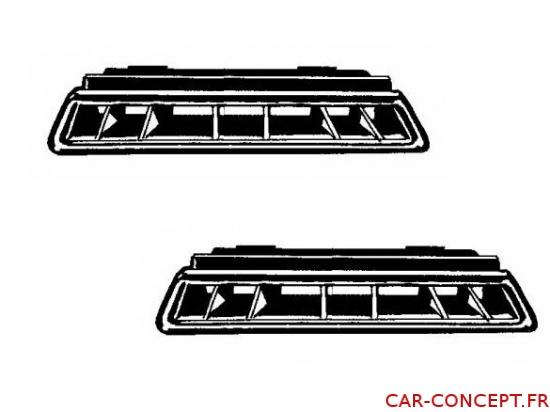 set de 2 grilles de ventilation de pare-brise 71/78 Luxe (pour véhicule avec tableau de bord en mousse)