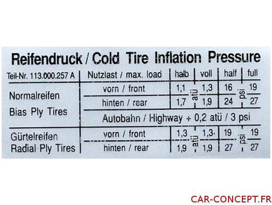 étiquette autocollant pression des pneus cox