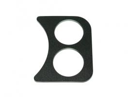 Support de manomètre noir droit 2 trous