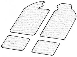 Kit tapis de sol noir 4 pièces pour karmann 56/74