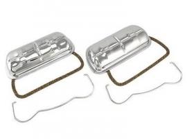 Cache culbuteur chrome (la paire) + clip + joint